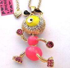 Betsey Johnson glisten crystal&pink enamel Lovely ant pendant Necklace#304L