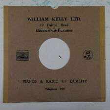 "78rpm 10"" card gramophone record sleeve / cover WILLIAM KELLY barrow , brown"