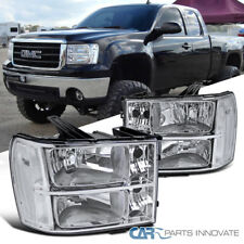 07-13 GMC Sierra Clear Chrome Replacement Headlights Headlamps Left+Right Pair