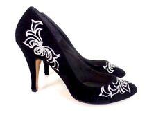 Vintage 80s Black Velvet Silver Glitter Stiletto Heel Tango Retro Disco 10 B
