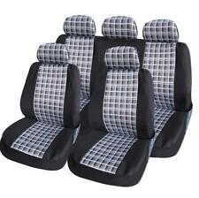 UNIVERSAL CAR SEAT COVER SET chequred Black white Airbag Compatible