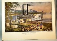 Currier and Ives  1971 print loading cotton on the Mississippi 50 year old litho
