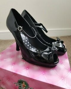 Pinup Couture Cutiepie 8 Patent High Heel Mary Jane Black Pumps Size 7 (40)