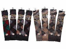 3 Pack Mens Extra Long Knee High Lambs Wool Blend  Argyle Socks Brown or Grey