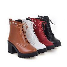 Vintage Women Chunky Heels Lace Up Ankle Combat Boots Platform Punk Retro Shoes