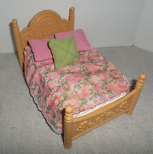 Fisher Price Loving Family Dollhouse Double Bed w/Floral Bedspread & Pillows