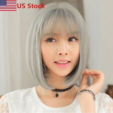 Women's Bangs Grey Ombre Wigs Straight BOB Hair Cosplay Party Lady Short Wig USA