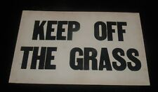 ANTIQUE BLACK AND WHITE WINDOW CARD ADVERTISING SIGN KEEP OF THE GRASS