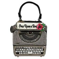 MARY FRANCES Just My Type Typewriter Black Grey Bag Handbag Purse Beaded NEW