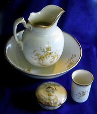 Antique Bowl Pitcher Set Maddocks Lamberton Yellow Morning Glories England