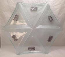 Jewish Passover Pessach Octagon Glass Seder Plate, Medallions English/Hebrew
