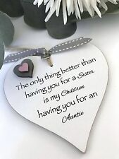 Sister Auntie Heart Gift Shabby Chic Ribbon Birthday S21