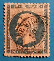 MARCOPHILIE-FRANCE : EMPIRE DENT.N°22 (TB 1106-1 )BLEU Oblit CaD VIERZON RR !