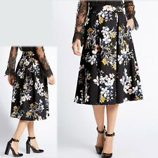 M&S Long MIDI Pleated FLORAL Print A-LINE SKIRT ~ Size 12 ~ BLACK Mix