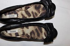 $89 GUESS Shoes Adalina Ballet Flats Black Leather Bow Detail Size 6.5M