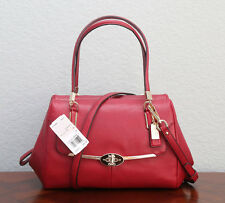 NWT COACH Madison Leather Small Madeline East/West Satchel 25169 SCARLET RED
