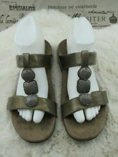 Orthoheel Women's 24 Albany Jeweled Patent Brown Slide Sandals Size 8 / 39