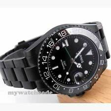 40mm parnis black dial PVD GMT sapphire glass date automatic mens watch P200