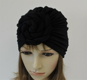 Black Top Knot Turban, Donut Turban, Viscose Jersey Turban with Rosette