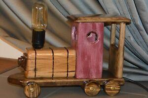 Train.. wooden desk handmade lamp