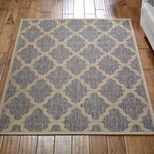 Traditional Sisal Flatweave Nonslip Gel Backing Carpet Moda Trellis Rugs in Grey