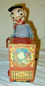 Vintage 1952 Mattel Stock #460 Wind Up Organ Grinder Jack In The Box W/Monkey