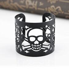Fashion Punk Rock Hollow Skull Black Bracelet Cuff Wristband Bangle Jewelry New