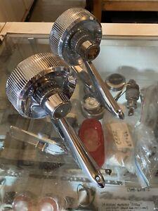 1961 1962 1963 1964 Ford Galaxie Fluted Round Crest Mirror Fairlane Mercury Pair
