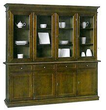 Cristalliera mobile 4 porte, cassetti,in arte povera, legno massello, credenza,
