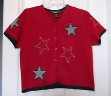 Norton Studio Sz PL Red Cardigan w/Appliqued & Embroidered Stars, short sleeves