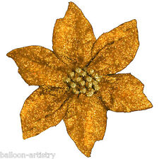 Christmas GOLD Large 20cm Poinsettia Glitter Flower Clip On Tree Decoration BA
