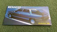Autumn 1986 RENAULT UK RANGE BROCHURE + SPEC / PRICES 5 GT TURBO 9 11 21 25 GTA