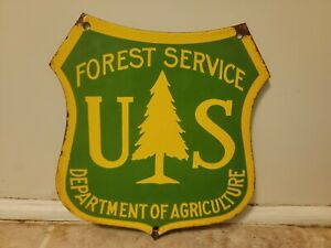 Vintage Forest Service Porcelain Sign Automotive Gas And Oil Hunting  Fishing