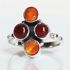 925 Solid Sterling Silver Faceted Semi-Precious Carnelian Stone Ring - Size 8