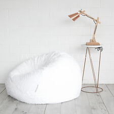 Large Round BEAN BAG Cloud Chair Lounger White Luxury Faux Fur Soft BEANBAG NEW