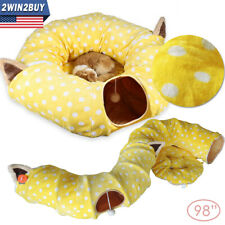 Cat Pet Tunnel Tube Bed Donut Toys Collapsible Dog Kitten Indoor Ferret Large US