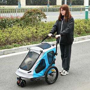 Convertible Pet Trailer Push Stroller Small Dog/Cat Travel Carrier Foldable Grey