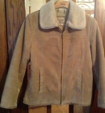 Womens Genuine Leather Suede Coat Size Large Soft Faux Fur Lining Light Brown