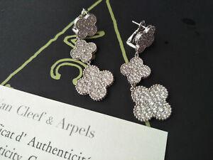 Van Cleef & Arpels 18k White Gold Vintage Magic Alhambra Diamonds Earrings