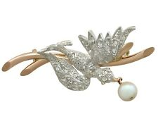 and 18ct Yellow Gold Bird Brooch Antique Victorian 0.36ct Diamond & Pearl Ruby