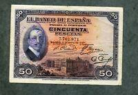 BILLETE 50 PESETAS 1927 SIN  SERIE 7701871 con sello II REPUBLICA  MBC +