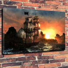 "Pirate Ship Stormy Seas Sunset Printed Canvas Picture A1.30""x20"" 30mm Deep"