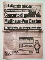 GAZZETTA DELLO SPORT 22-1-1990 NAPOLI MARADONA MILAN VAN BASTEN INTER MATTHAUS