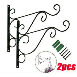 2x Metal Hanging Basket Brackets Outdoor Garden Plant Hanger Hook Wall Decor