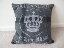 Gray Flannel Plaid Crown with Cross Decorative Pillow NEW 16x16 w/filler