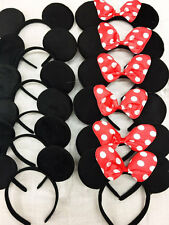 24 PC Minnie Mickey Mouse Ears Headbands Black Disney Red Bow Birthday Party/