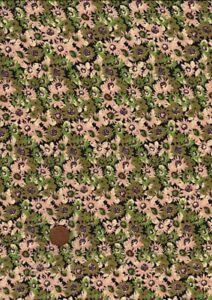 100% Cotton Lawn Fabric 30s Retro Small Floral Green Cream Black Patchwork Craft
