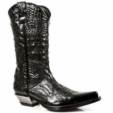 Newrock Mens 7921-S1 New Rock Leather West Black Cowboy Leather Boots All Size