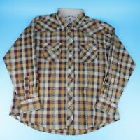 Wrangler 20X Western Pearl Snap Floral Check Mettalic Long Sleeve Shirt Size XL