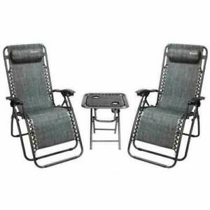 3 Pcs Patio Zero Gravity Chair Patio Chaise Lounge Adjustable Chairs Recliner